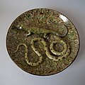 APT ware, Wall plate, c.1900, France. Coloured and mottled glazes in Palissy style.jpg