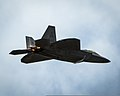 A U.S. Air Force F-22 Raptor aircraft performs a high-speed pass during the Wings Over the Pacific Air Show at Joint Base Pearl Harbor-Hickam, Hawaii, Sept 140928-F-SI013-021.jpg