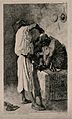 A barber dressing a man's hair. Etching by F. Regamey after Wellcome V0019805ER.jpg