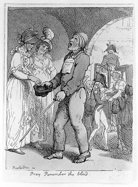 File:A blind man walks in Covent Garden, begging for money with h Wellcome L0013663.jpg