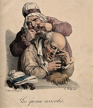 A couple assemble their false body parts- false teeth, a glass eye and wigs. Coloured lithograph by F-S. Delpech after L. Boilly, 1825. Wellcome V0011718.jpg