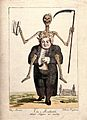 A doctor, straddled by a skeleton, holds a full purse in his hands Wellcome V0011676.jpg