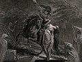A figure of Death dressed as a knight points an arrow toward Wellcome V0042184.jpg