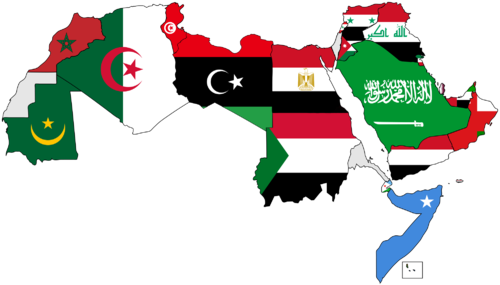 A map of the Arab World with flags