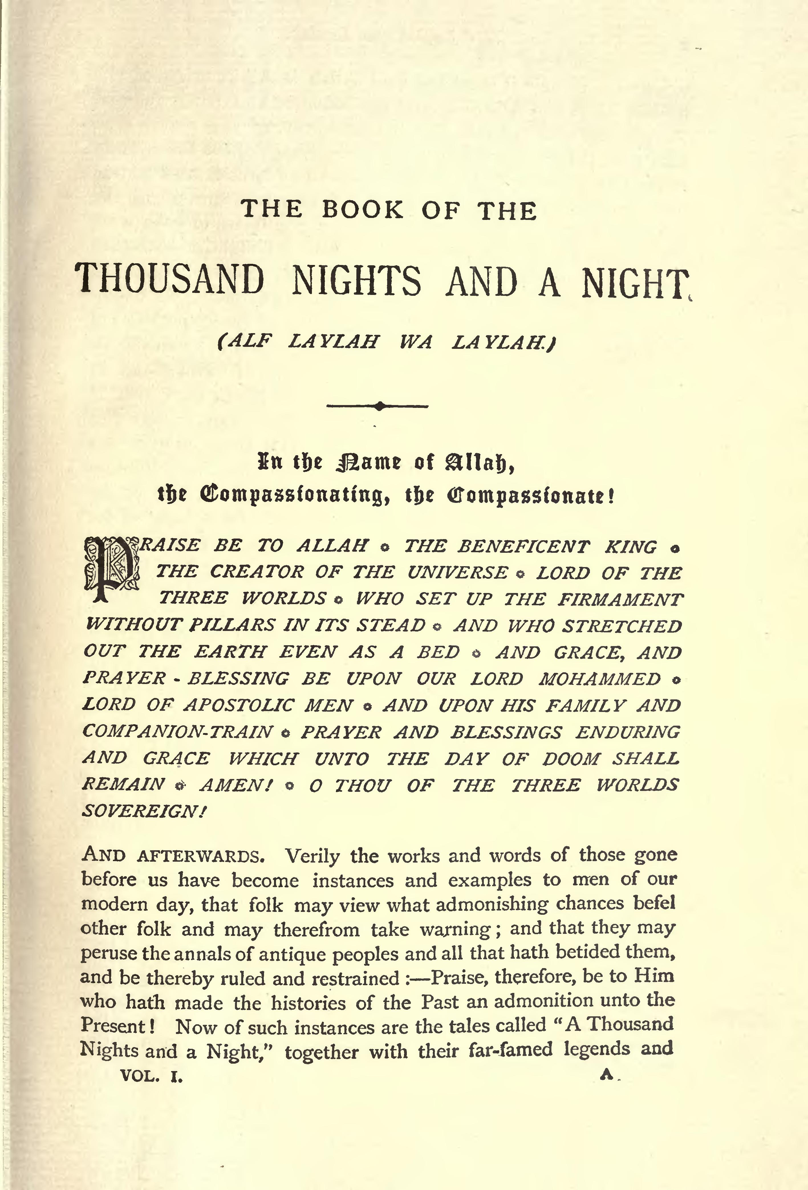 page a plain and literal translation of the arabian nights