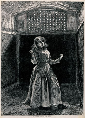 Padded cell - A woman in a padded cell, 1889
