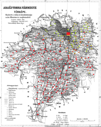 Abaúj-Torna County - Ethnic map of the county with data of the 1910 census (see the key in the description).