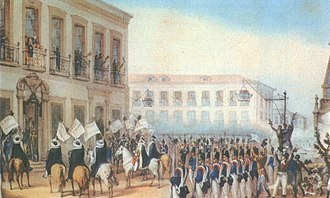 Princess Paula of Brazil - Acclamation of D. Pedro II by Debret. In the up-left corner, Pedro is on the balcony with his sisters.