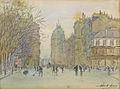 Adam Henri - Watercolor - Vue d'une place publique au Havre - 10.6x14.3cm.jpg