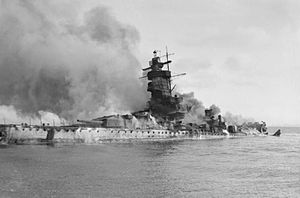Battle of the River Plate - Admiral Graf Spee in flames after being scuttled in the River Plate estuary