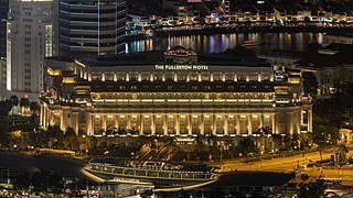 Aerial photographs of The Fullerton Hotel of Singapore at night.jpg