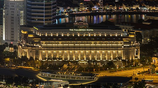 Aerial photographs of The Fullerton Hotel of Singapore at night