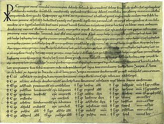 Æthelred the Unready - A charter of Æthelred's in 1003 to his follower, Æthelred. British Library, London.
