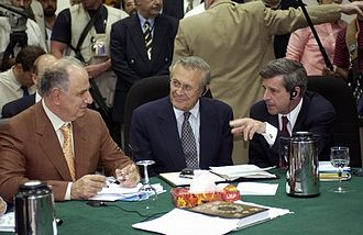 Ahmed Chalabi - Chalabi in discussion with Paul Bremer and US Secretary of Defense Donald Rumsfeld