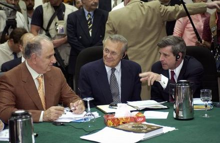 Chalabi in discussion with Paul Bremer and US Secretary of Defense Donald Rumsfeld Ahmed Chalabi in discussion with Paul Bremer and Donald Rumsfeld.jpg
