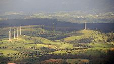 Aerial view of the Ambewela Aitken Spence Wind Farm, as seen from approximately 10 km away from Horton Plains National Park.