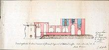 Alambicco di legno con tubazioni in argilla per distillare a vapore l'alcol delle vinacce, sezione longitudonale, 1857