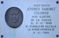 Alcalá de Henares (RPS 31-05-2015) lápida dedicada a Andrés Saborit Colomer el 09-11-1985.png