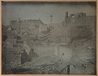 1842 daguerreotype by Joseph-Philibert Girault de Prangey (the earliest photograph of the city) Alep. Prise de Bab Antakieh (publiee) MET DP-1757-027.jpg