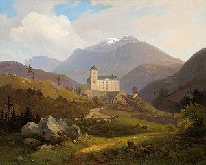 Burg Kranichberg, im Hintergrund der Schneeberg; Ölgemälde von Alexander Trichtl