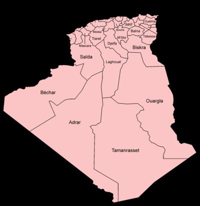 Carte Algerie Wilaya.Liste Des Wilayas D Algerie Wikipedia