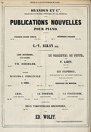 Grande sonate 'Les quatre âges' - Image: Alkan Grande Sonate publication announcement