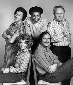 Mike Evans (actor) - Cast of All in the Family - Back row, L-R: Jean Stapleton, Mike Evans, Carroll O'Connor. Front: Sally Struthers, Rob Reiner (1973)