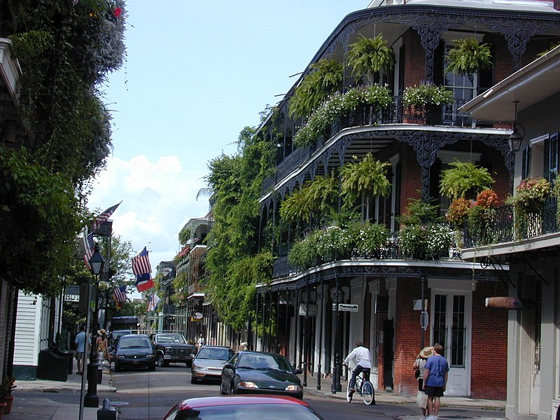 Balconies along Royal Street at Dumaine, New Orleans. Picture taken by Jan Kronsell, June 2002.