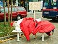 Alterswohnsitz - Obdachloser auf der Parkbank, Installation Sozialverband Deutschland SoVD, Hannover Georgstraße, Aktionstag UMfairTeilen - Reichtum besteuern, 2012.jpg