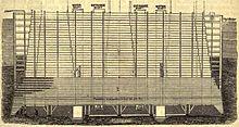 Holzschnitt/Zeichnung zur Veranschaulichung des Caissons, der beim Bau der Brooklyn Bridge verwendet wurde
