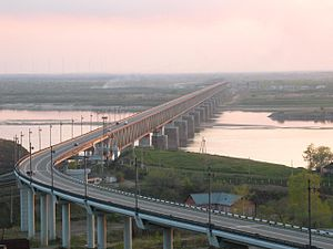 Khabarovsk Bridge - Khabarovsk Railway and Automotive Bridge after its reconstruction in 1999.