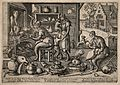An alchemist's laboratory inhabited by simians; to the right Wellcome V0011903.jpg