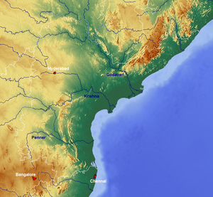 Penna River - Map showing the river.