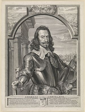 Battle of Kallo - General of Artillery Andrea Cantelmo, portrait engraved by Paulus Pontius after Michaelina Wautier (1643).
