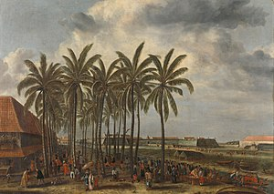 Multinational corporation - The Fort Batavia, seen from West Kali Besar (Andries Beeckman, c. 1656). While the VOC established its overseas administrative center, as the second headquarters, in Batavia (present-day Jakarta), the company also had important operations elsewhere.