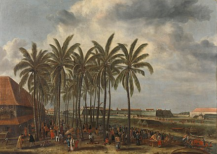 Dutch Batavia built in what is now Jakarta, by Andries Beeckman c. 1656 Andries Beeckman - The Castle of Batavia.jpg