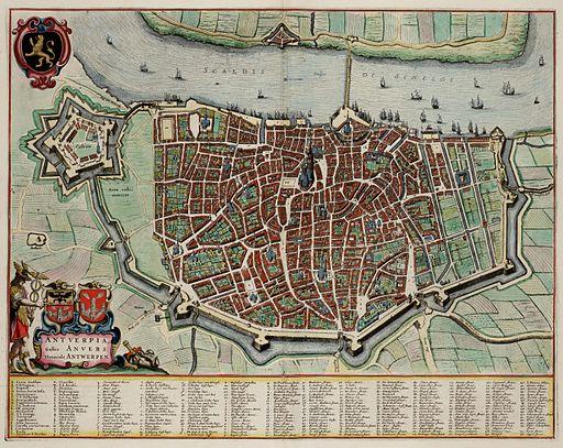 Antwerp - Antverpia; Gallis Anvers, Vernacule Antwerpen (Atlas van Loon)