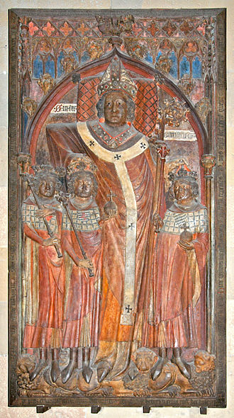 Peter of Aspelt - Red sandstone slab from the tomb of Peter von Aspelt in Mainz Cathedral. From the left: John the Blind, his father Henry VII, Peter von Aspelt, Louis the Bavarian.
