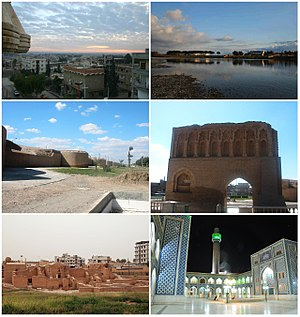 Raqqa skyline The Euphrates Raqqa city walls Baghdad gate Qasr al-Banat Castle Uwais al-Qarni Mosque