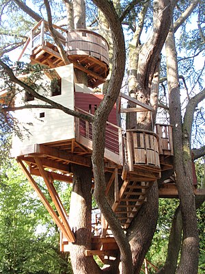 Tree house in the park of the Château de Lange...