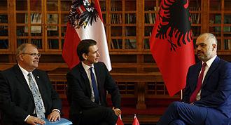 Edi Rama - Austrian Foreign Minister Sebastian Kurz meet Edi Rama in Tirana, Albania. (17 June 2014)