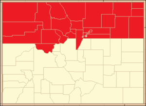 Roman Catholic Archdiocese of Denver - Image: Archdiocese of Denver map