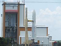 Ariane 5ECA on its launch platform on its way to lauch pad ELA-3.jpg