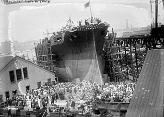 Ceremonial ship launching - Stern-first launch of the battleship USS Arizona in 1915 at the Brooklyn Navy Yard