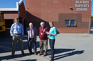 Perry, Maine - U.S. Secretary of Education Arne Duncan (far left) and U.S. Secretary of the Interior Sally Jewell (far right) visit Beatrice Rafferty School in Perry in 2014