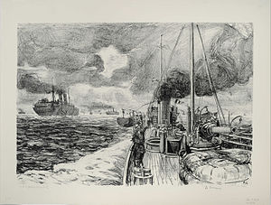 Dartmouth Marine Slips - HMCS Grilse on Convoy Duty, a drawing by Arthur Lismer. The Slips were busy in World War II as they serviced such vessels as this which guarded convoys during the Battle of the Atlantic.
