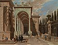 Ascanio Luciano - An architectural capriccio with figures outside a palace.Jpeg