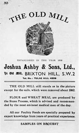 Ashby's Mill - Leaflet from Ashby's mill, Brixton, 1914