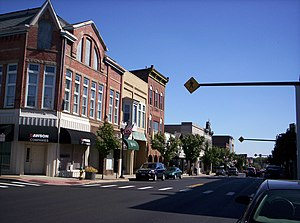 A view of downtown Ashland, Ohio on East Main Street