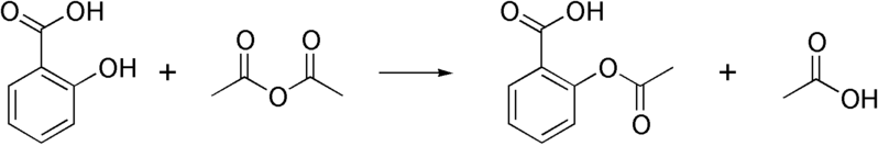 Salicylsyra + ättiksyraanhydrid → acetylsalicylsyra + ättiksyra